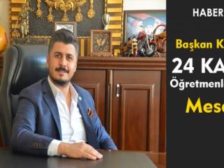 Başkan Kılıç'ın 24 Kasım Öğretmenler Günü Mesajı